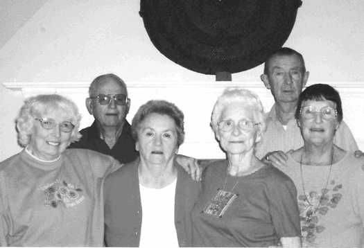 """The Andes Central School Class of 1948 held their 60th Reunion at the Andes Hotel on August 12, 2008. In attendance were 6 of the 19 graduates. Front row left to right – Marie Graham Gladstone, Frances Barker Bramley, Ellen Johnson Weaver, Janis Reynolds. Back Row -  Niels """"Mike"""" Skovsende and Walter Gladstone"""