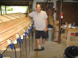 "Boat builder Peter Lederman with his ""labor of love"""