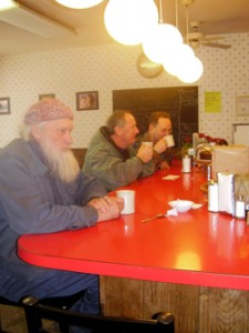 Early morning customers enjoy some caffeine at Cassie's Kitchen