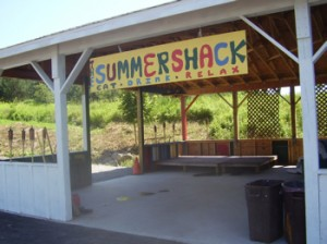 "Ed & Sally O'Neill, proprietors of the Andes Hotel, have recently opened the new ""Summer Shack,"" which will be the site of a number of outdoor events. Behind it, space is set up for playing horseshoes."