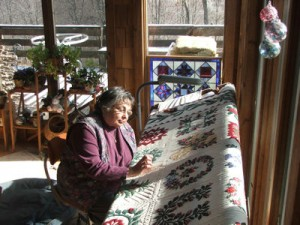 Lesley working on one of her quilting projects