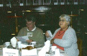 Two of the Senior Club members enjoy the Oktoberfest meal