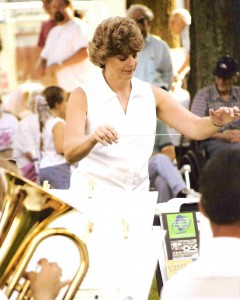 Diane Krick leads the Delaware County Band in Delhi (photograph by Joe Damone)