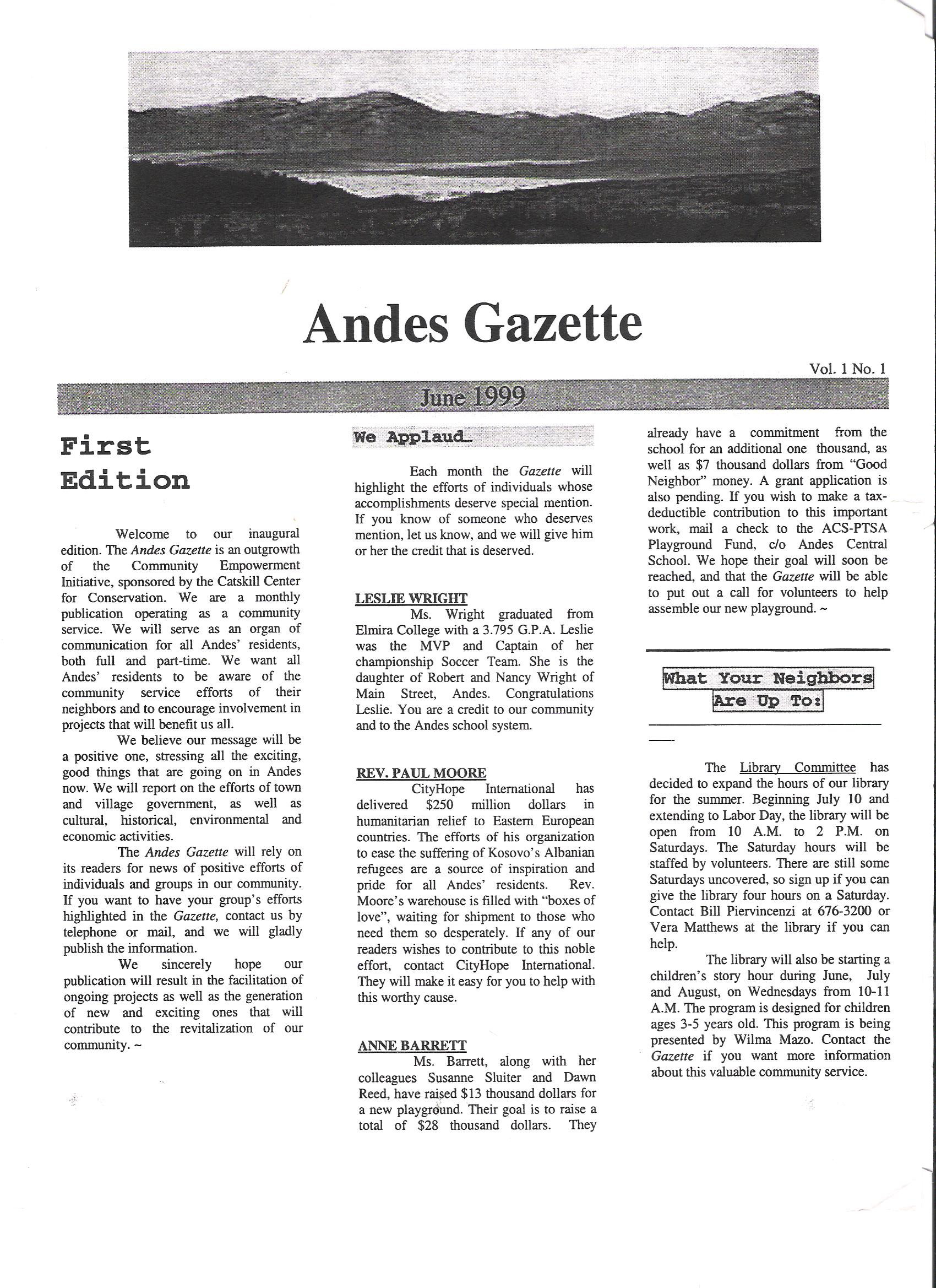 ANDES GAZETTE - JUNE 1999 - Page 1