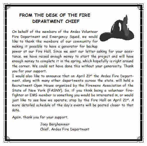 FROM THE DESK OF THE FIRE CHIEF - March 2012
