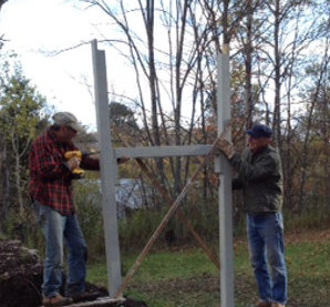 Nick Verni of Margaretville and Jeff Ditchek of Andes installing the new Rail Trail feature