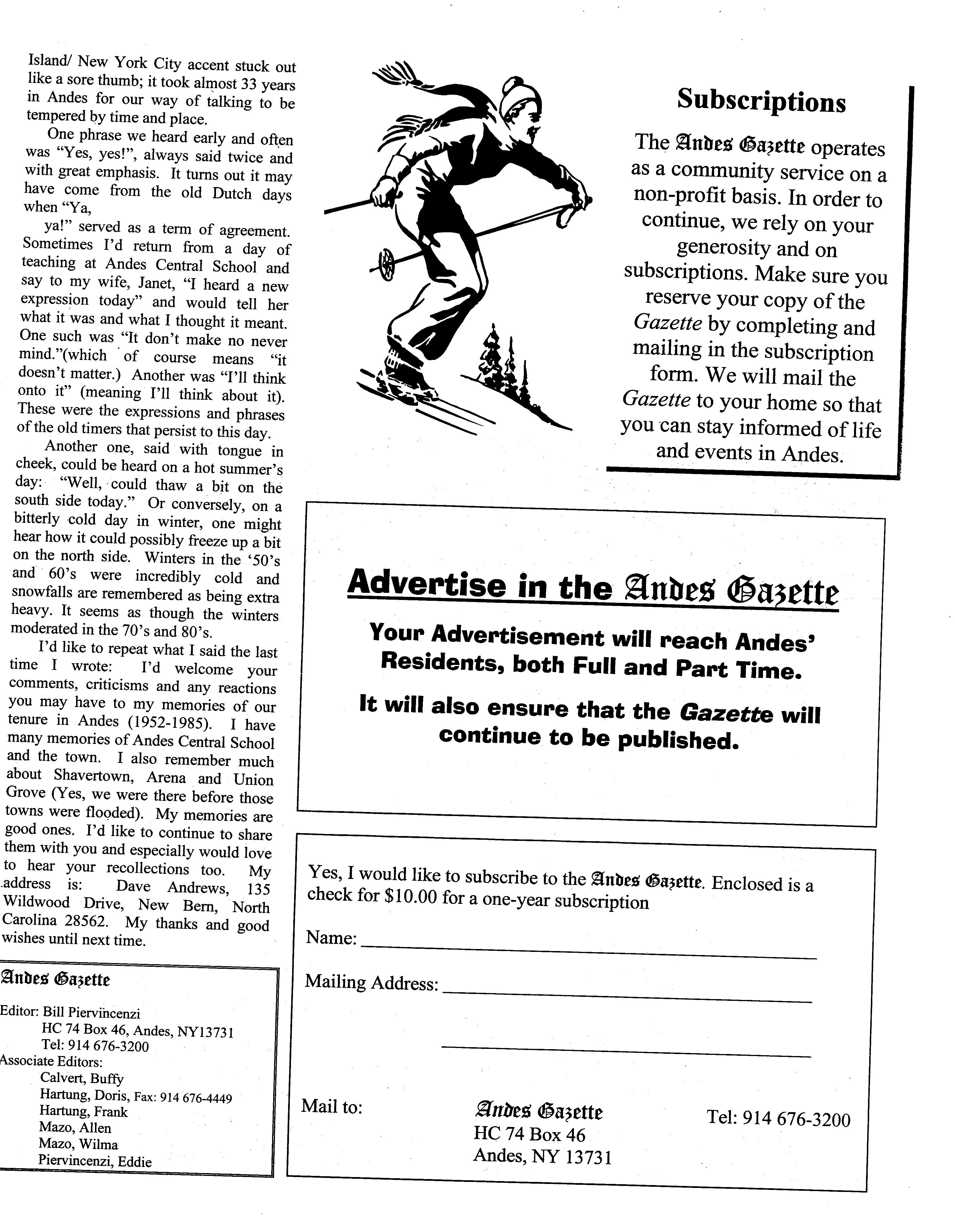 ANDES GAZETTE - February 2000 - Page 9