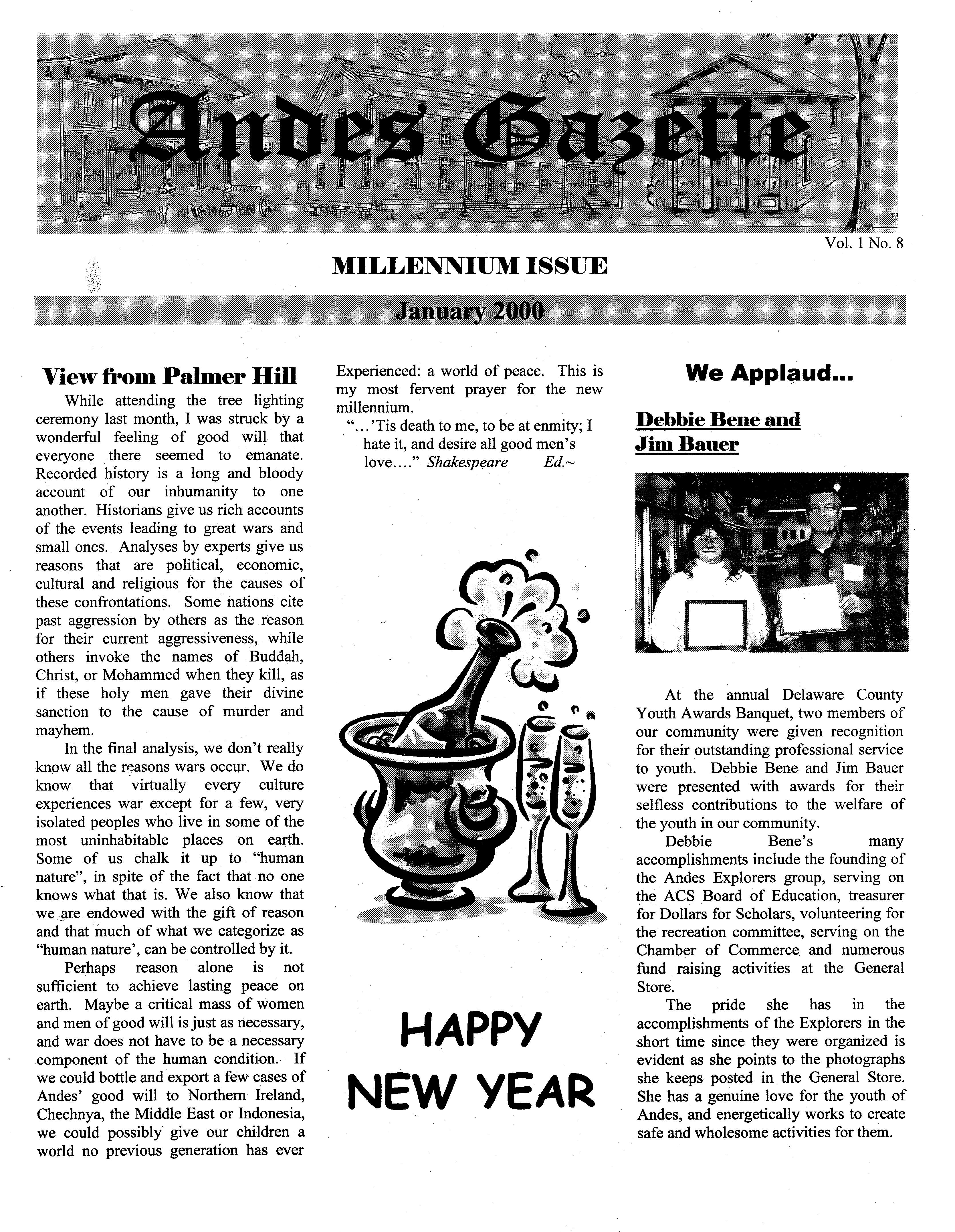 ANDES GAZETTE - January 2000 - Page 1