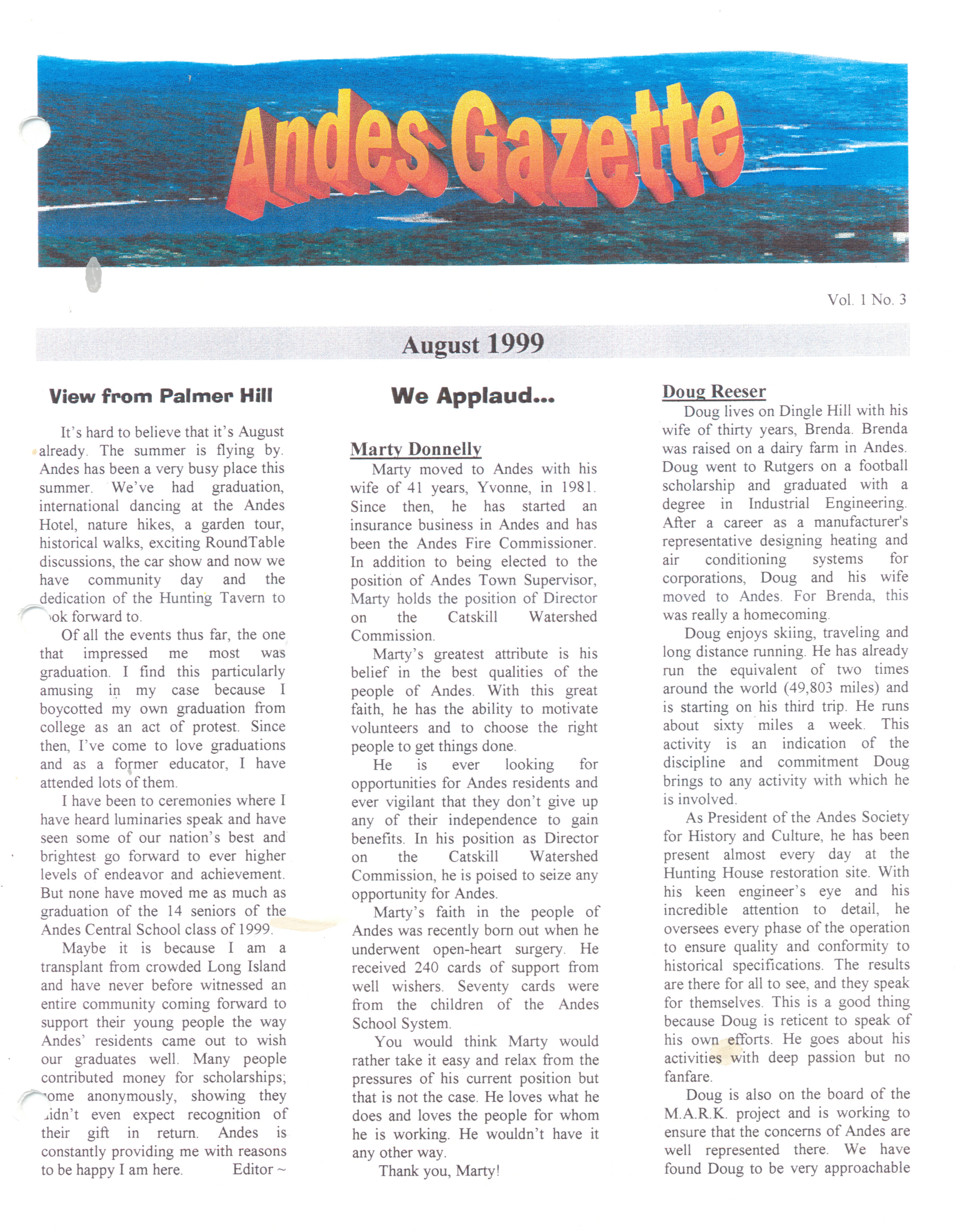 ANDES GAZETTE - August 1999 - Page 1