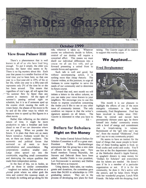 ANDES GAZETTE - OCTOBER 1999 - Page 1