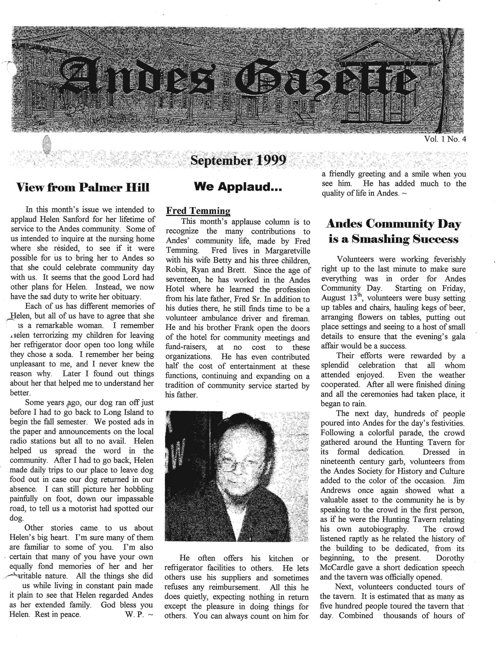 ANDES GAZETTE - SEPTEMBER 1999 - Page 1