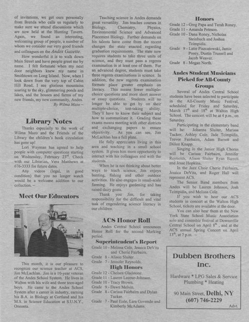 ANDES GAZETTE - March 2000 - Page 2