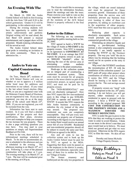 ANDES GAZETTE - March 2000 - Page 6