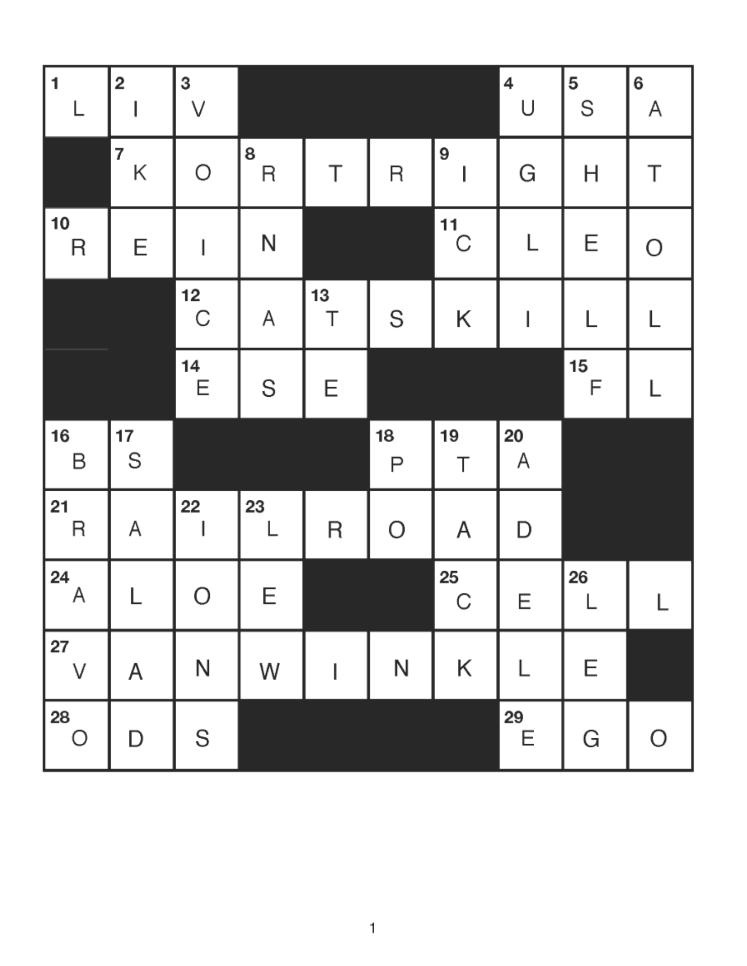 APRIL  CATSKILL  CROSSWORD  Answers - May 2020