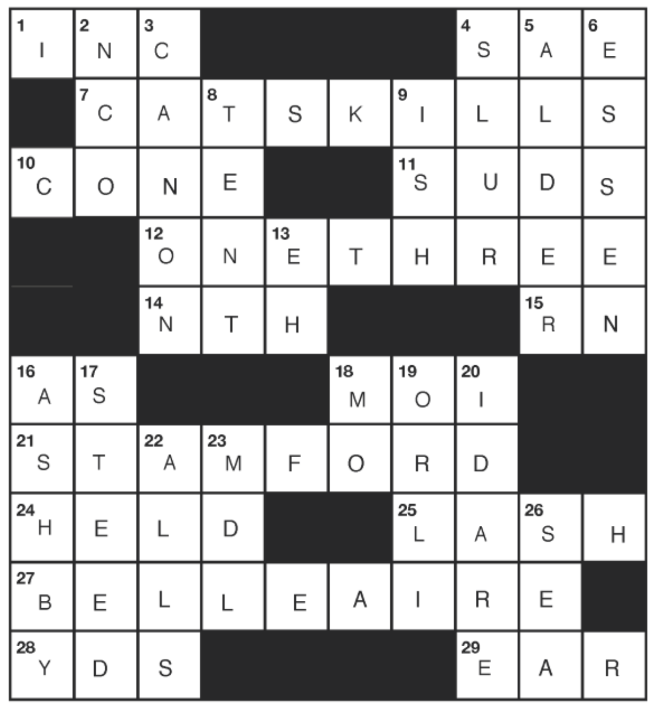 JULY CATSKILL CROSSWORD ANSWERS  - August 2020