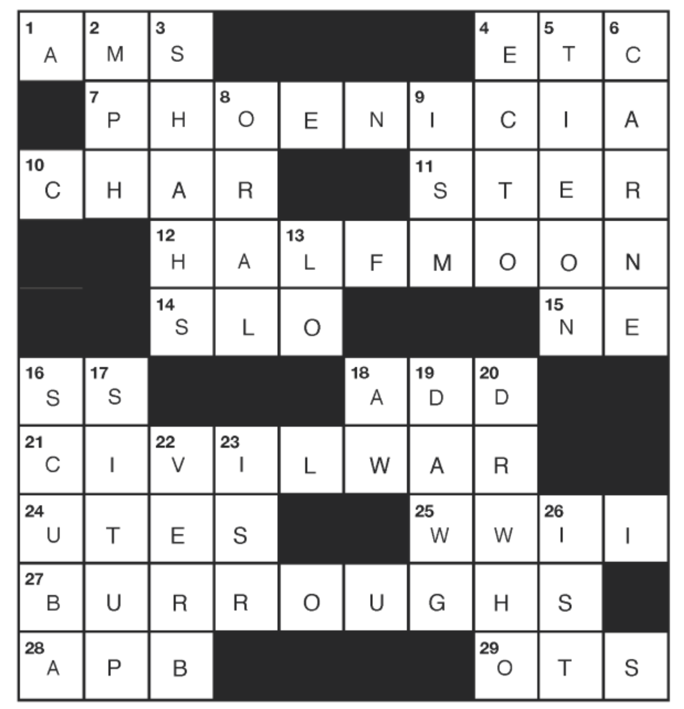 JUNE CATSKILL CROSSWORD Answers - July 2020