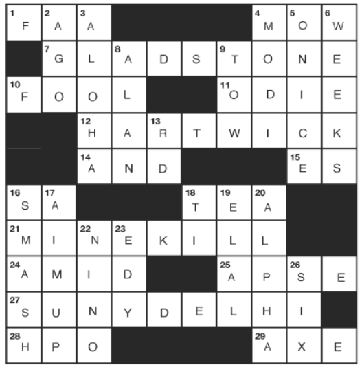 SEPTEMBER CATSKILL  CROSSWORD Answers - october 2020